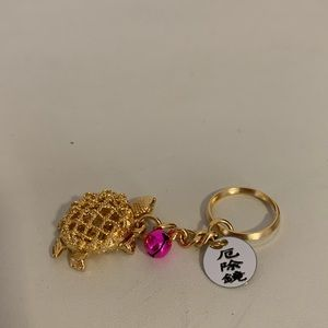 BRAND NEW Gold Metal Turtle Keyring with Charms